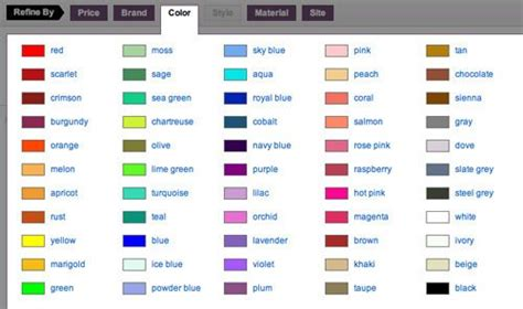 colors name list in urdu and english with pictures english color name