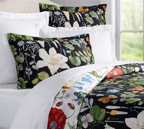 botanical bedding poppy botanical reversible duvet cover sham pottery barn