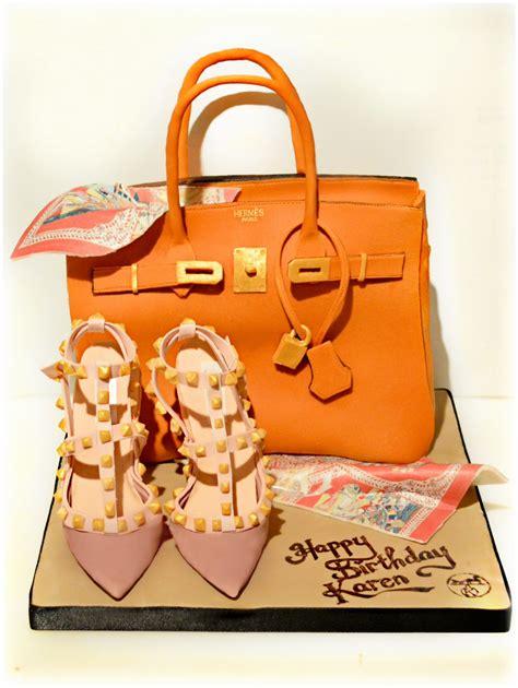 7789 28 Highheels Hermes hermes orange birkin handbag birthday cake with scarf and