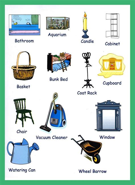 home items household items vocabulary for