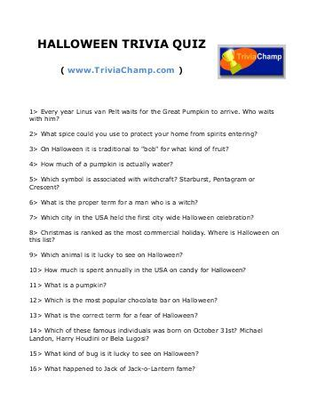 halloween trivia quiz printable – festival collections