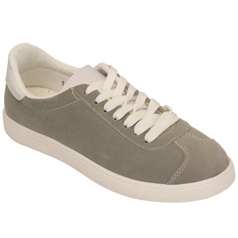 tennis shoes flat suede look trainers womens lace up flat tennis