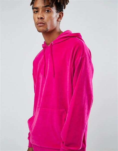 Hoodie Brown Line Pink lyst asos oversized velour hoodie in bright pink in pink for