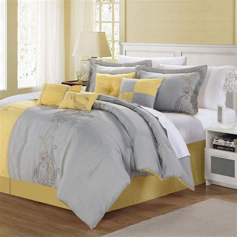 yellow bed comforters ann harbor 8 piece yellow grey comforter set
