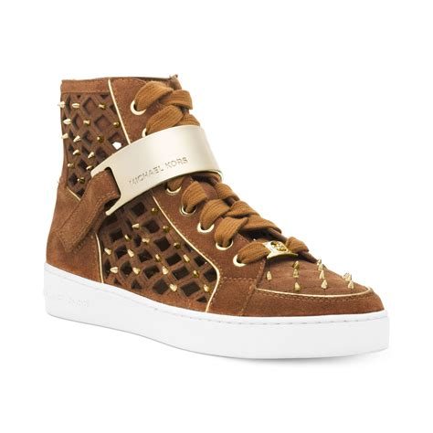 mk sneakers michael kors michael keaton high top sneakers in brown lyst