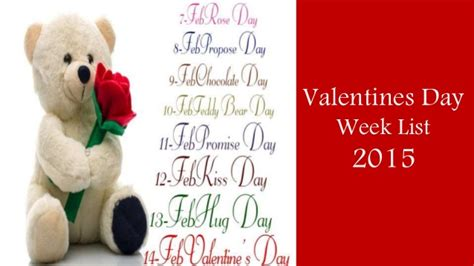 valentin day list valentines day week list 2015