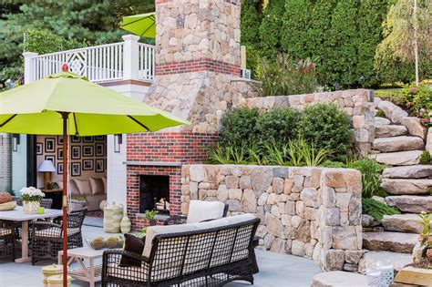Backyard Slope Landscaping Ideas Outdoor Brick Fireplace Transitional Deck Patio