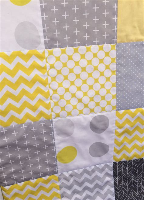 Yellow Patchwork Quilt - pastel yellow grey cot patchwork quilt danoah madeit