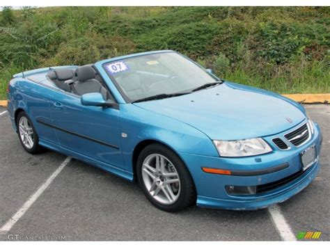 saab convertible blue ice blue metallic 2007 saab 9 3 aero convertible exterior