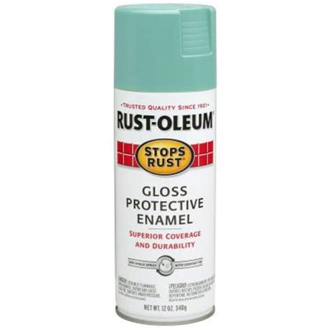rust oleum stops rust 12 oz gloss light turquoise protective enamel spray paint 284678 the