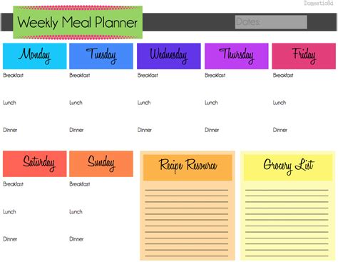 weekly meal planner template with snacks oyle kalakaari co