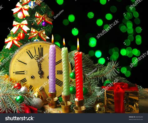 new year composition happy new year composition with clock candles and