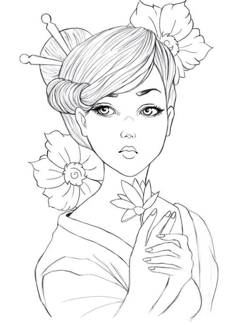 coloring book page drawing geisha colouring page asian coloring pages pinterest