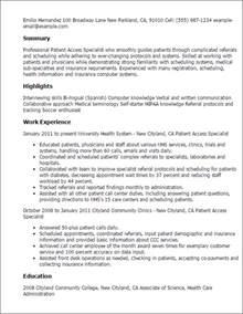 Patient Service Representative Resume   Resume Format