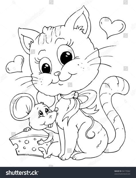 coloring pages cat and mouse friends mouse cat illustration coloring page stock vector