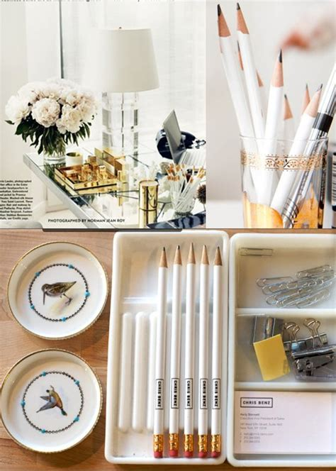 Gold Desk Accessories White And Gold Desk Accessories Organized Pinterest White Pencil Offices And Inspiration