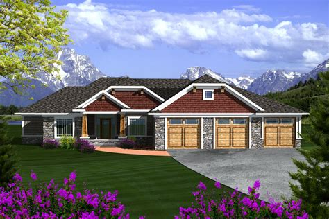square feet of 3 car garage ranch style house plan 3 beds 2 baths 2105 sq ft plan