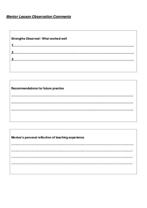 lesson feedback form template lesson feedback form 1 and 2