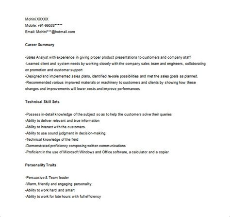 Sle Analyst Resume by Sales Analyst Resume