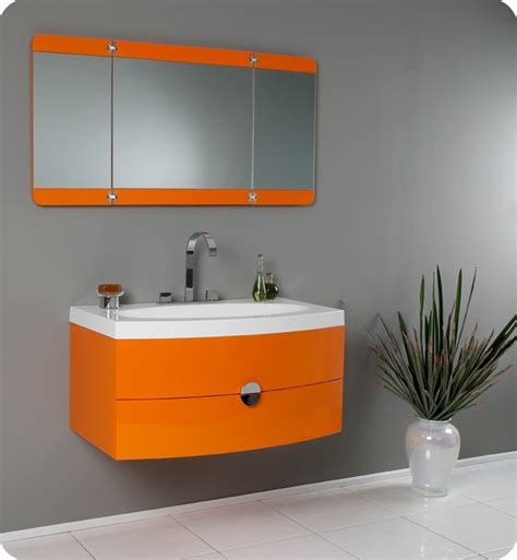36 energia fvn5092or orange modern bathroom vanity w - Orange Bathroom Cabinet