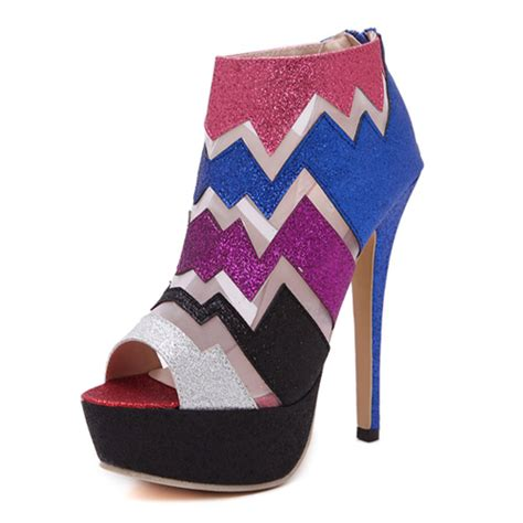 Shh1993 Material Pu Heel 14cm Size 35 36 37 389 fashion peep toe patchwork stiletto