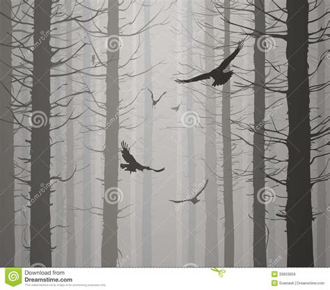 Tree Mural For Wall silhouette of the forest with flying birds royalty free
