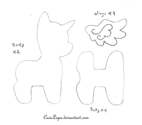 unicorn plushie pattern free my little pony plush pattern by cavelupa on deviantart