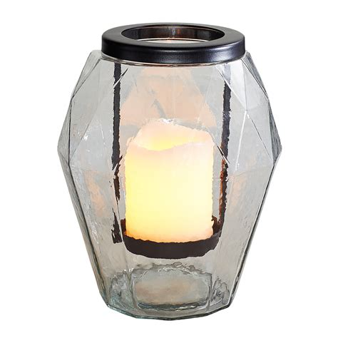 clear glass iron hurricane candle holder large pier