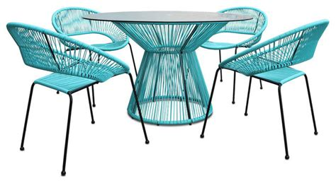 retro patio furniture sets acapulco 5 retro dining set glacier blue modern