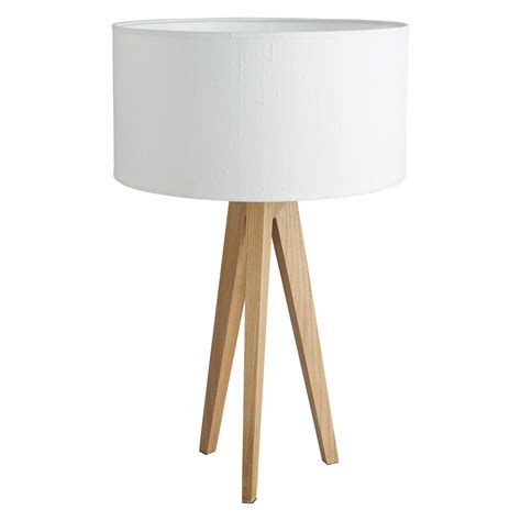 Wooden Tripod Table L by Tripod Ash Wooden Tripod Table L With White Silk Shade