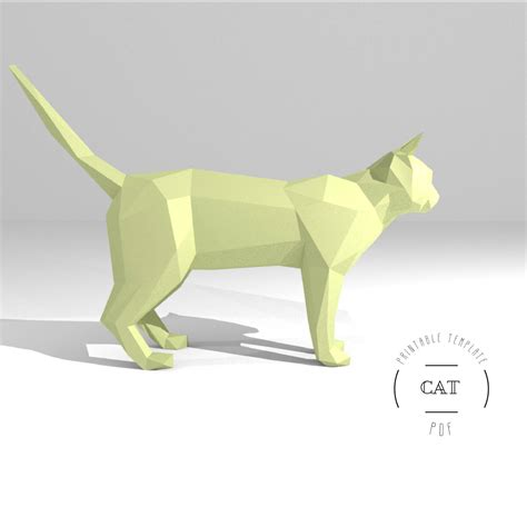 printable diy template pdf cat low poly paper model 3d