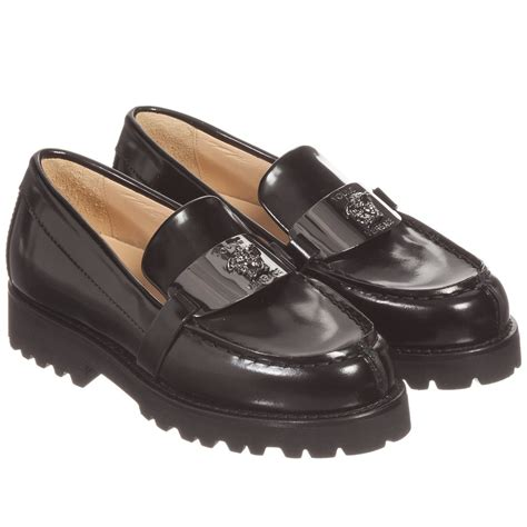 boys loafers versace boys black leather loafer shoes