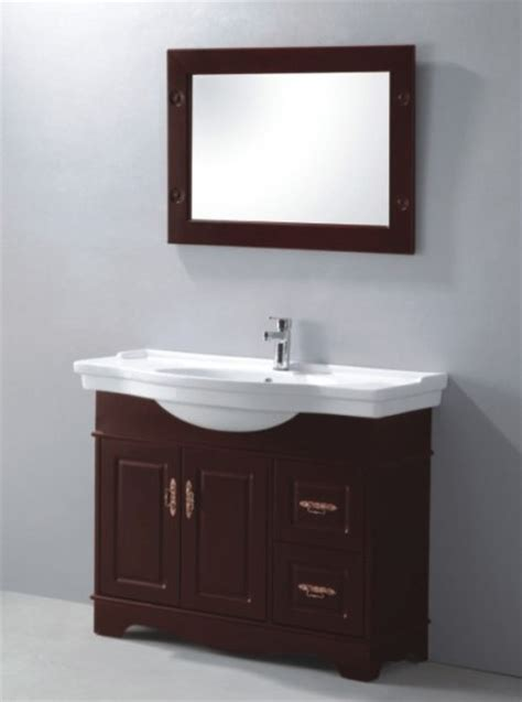 china pvc bathroom vanity in wooden brown color p5046