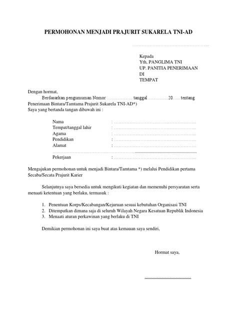 Surat Permohonan Menjadi Prajurit Tni - Guru Paud