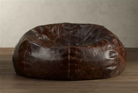 high quality leather bean bag chairs grand leather bean bag by restoration hardware