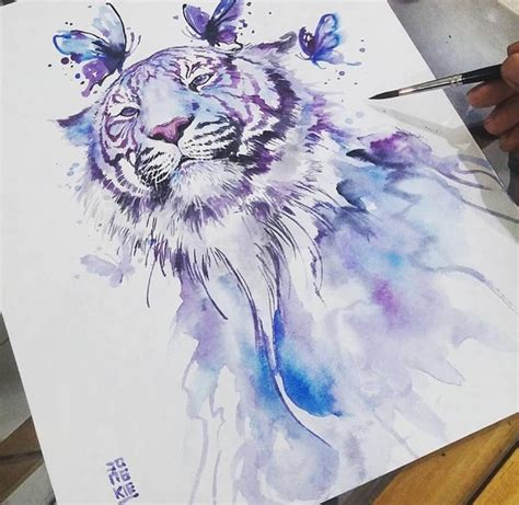 watercolor tattoo white tiger tattoo designs pinterest
