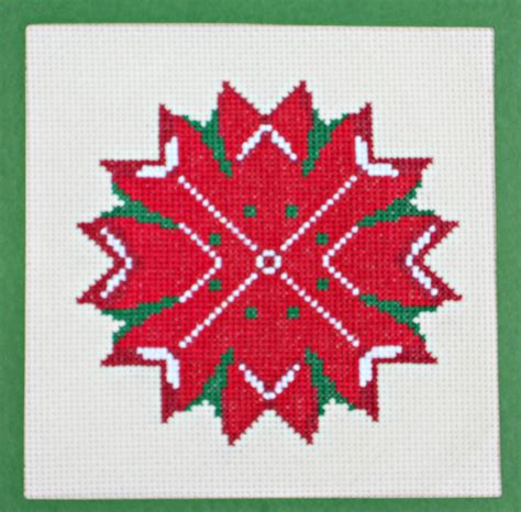 counted cross stitch ornament free patterns poinsettia counted cross stitch pattern