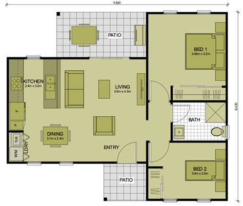 floor plans for 2 bedroom granny flats 2 bedroom bronte sydney granny flats