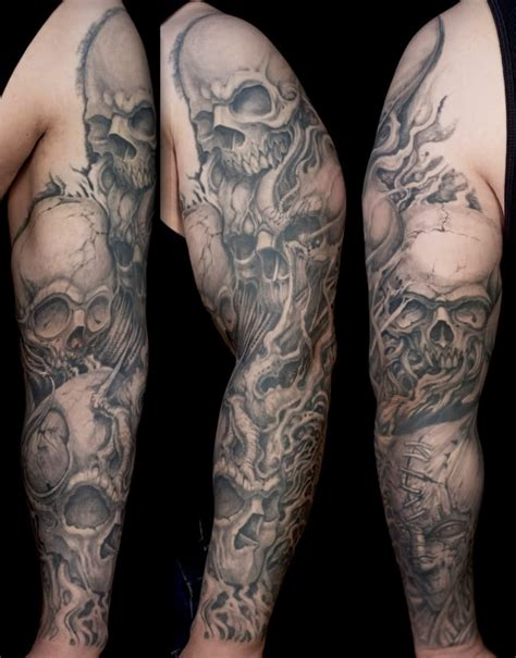 skull and smoke tattoos clown full arm photo design idea