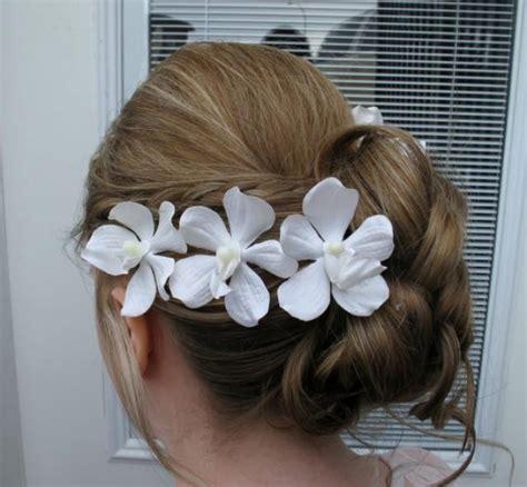 white orchid clip flower hair pin flower hair wedding hair accessories white orchid bobby pins set of 4 bridal hair flowers 2245070 weddbook