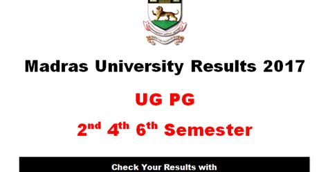 Madras Mba Distance Education Results 2017 by Madras Results 2017 April Ug Pg Unom Results