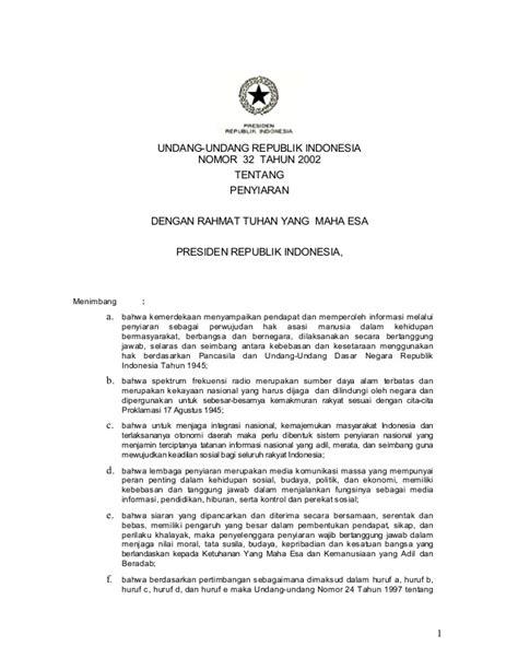 Undang Undang Ri No 32 Tahun 2009 Peraturan Menteri Lingkungan undang undang republik indonesia tentang penyiaran dengan