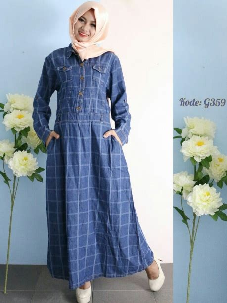 Colors Dress Rubia G411 gamis blue square g359 baju style ootd