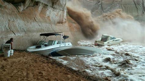 utah boat show 2017 boat submerged by flash flooding at lake powell ksl