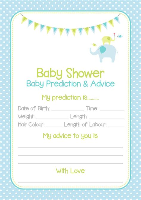 baby shower prediction cards blue boy 20 players ebay