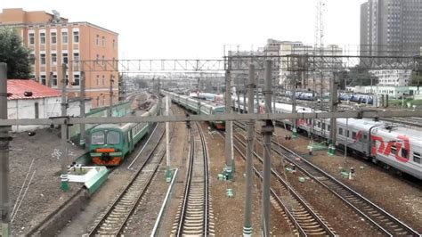 moscow train station a train traffic beside kazansky railway station moscow