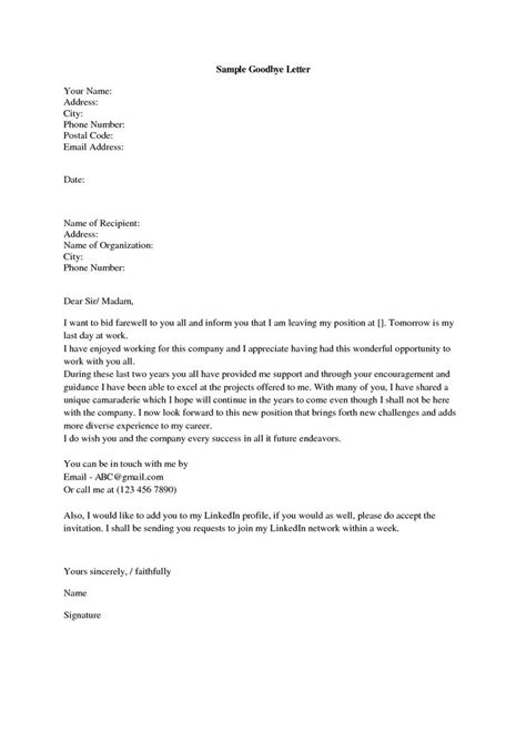 goodbye letter template farewell letter to a company sle farewell letter 7 free doc downloadresign in