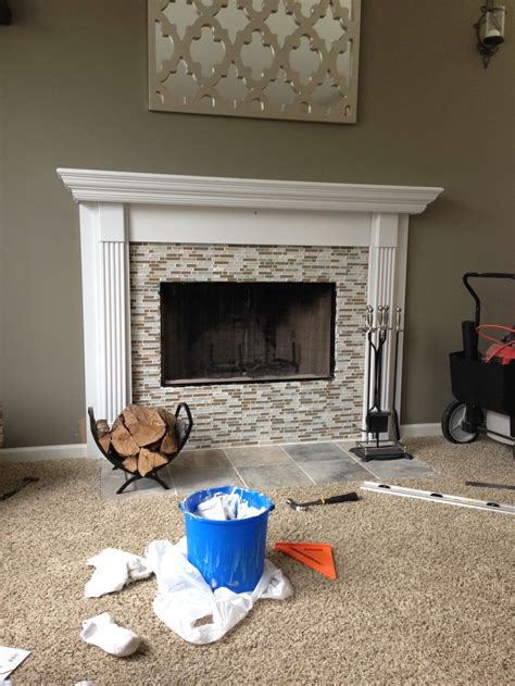 Handmade Fireplaces - diy fireplace mantel with mosaic tile basement ideas