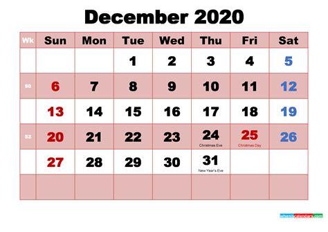 december  printable monthly calendar  holidays