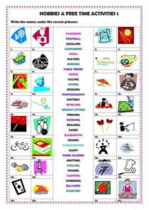 hobbies amp free time activities 1 worksheet free esl